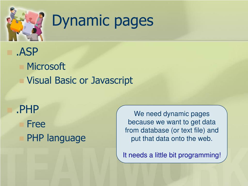 Dynamic pages