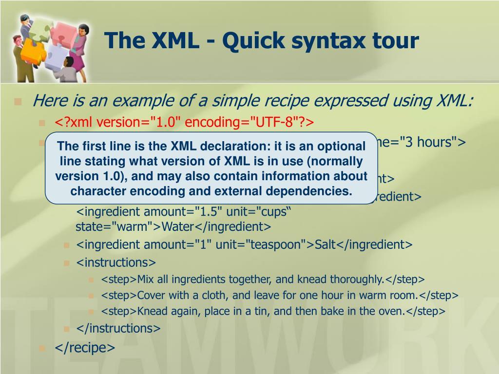 The XML -