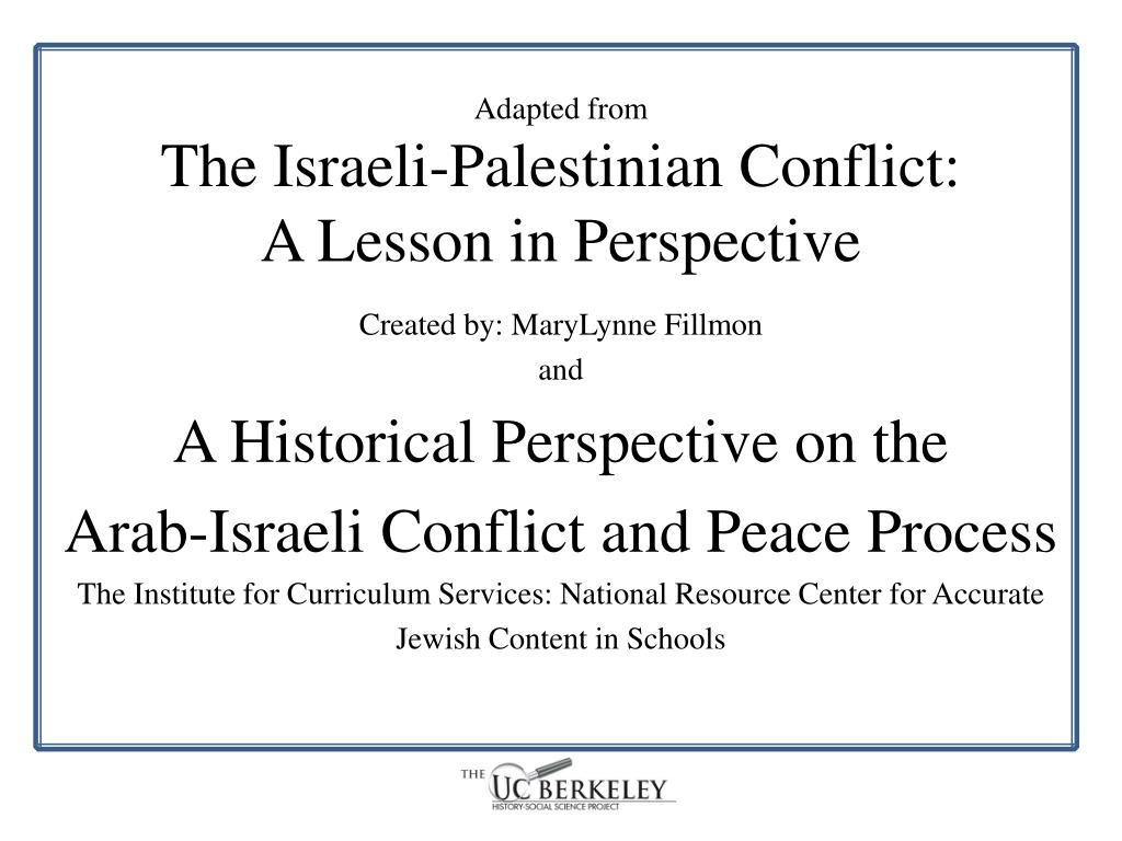 adapted from the israeli palestinian conflict a lesson in perspective l.