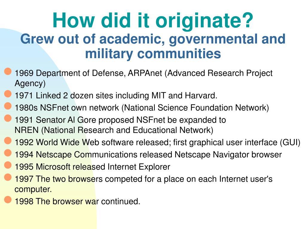 How did it originate?