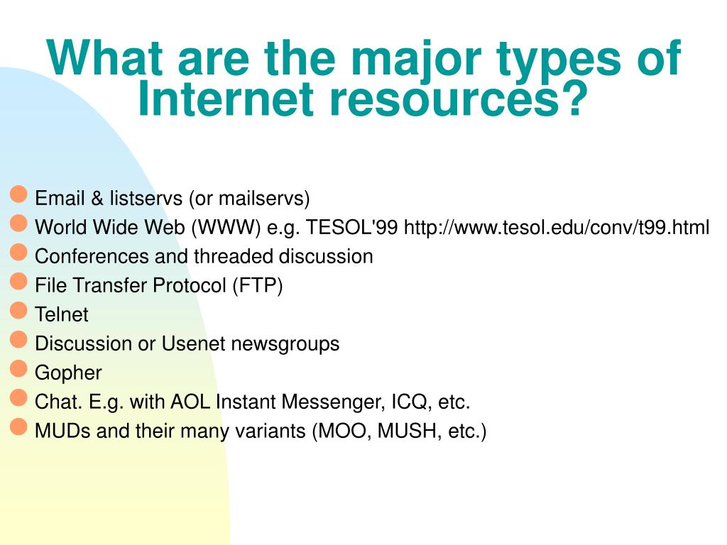 What are the major types of Internet resources?