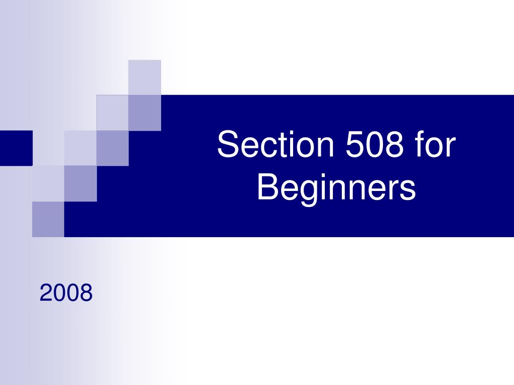 section 508 for beginners l.