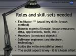 roles and skill sets needed