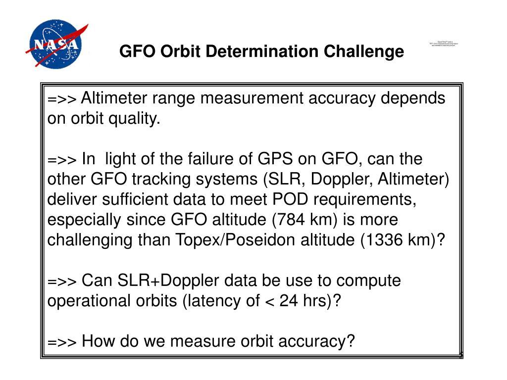 GFO Orbit Determination Challenge