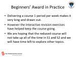 beginners award in practice10