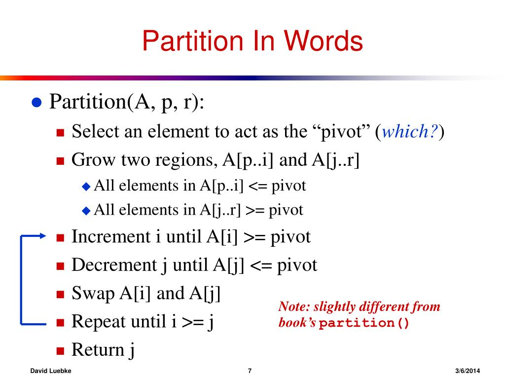 Partition In Words