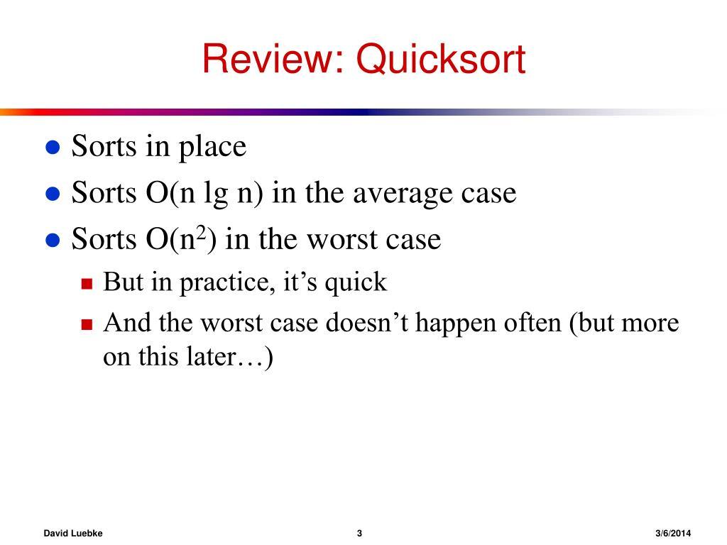 Review: Quicksort