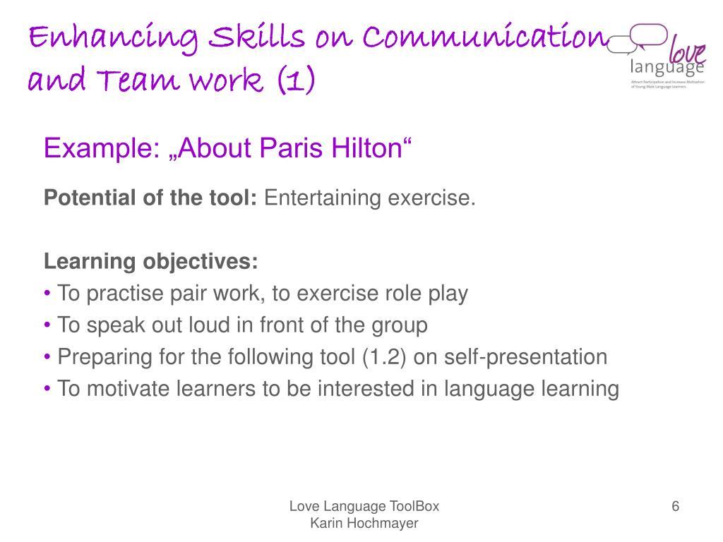 Enhancing Skills on Communication and Team work (1)