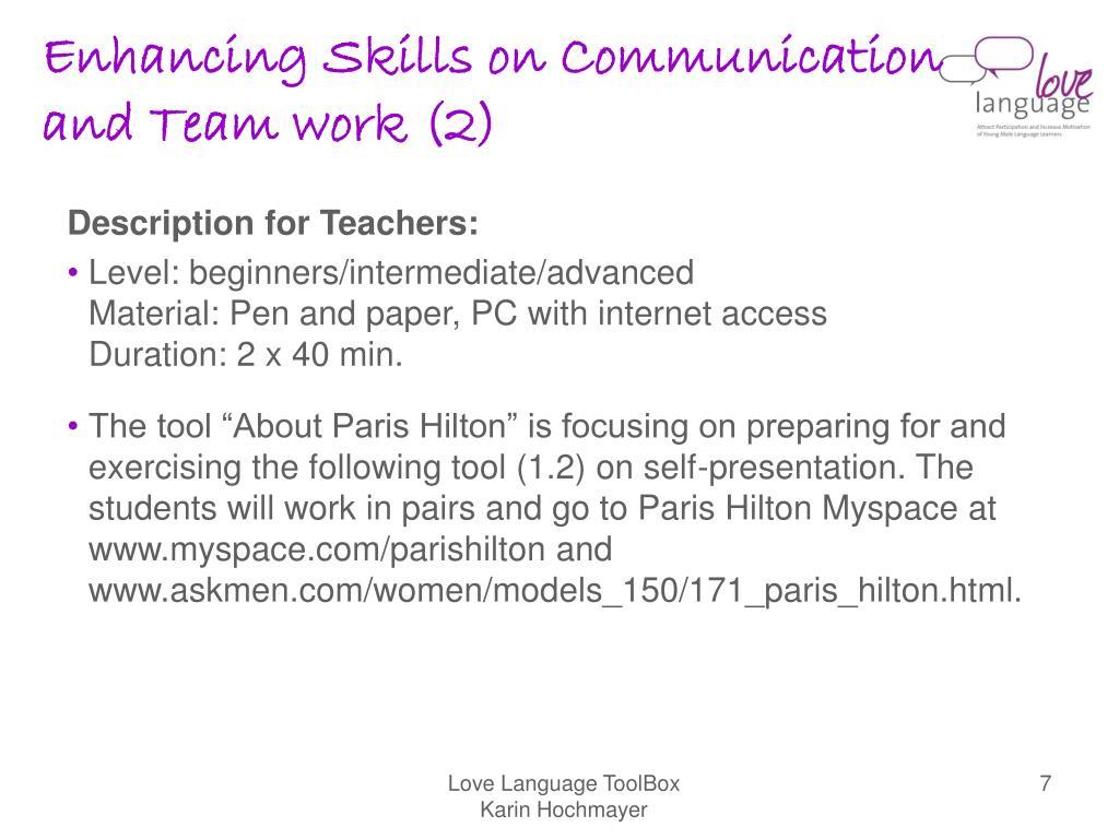 Enhancing Skills on Communication and Team work (2)