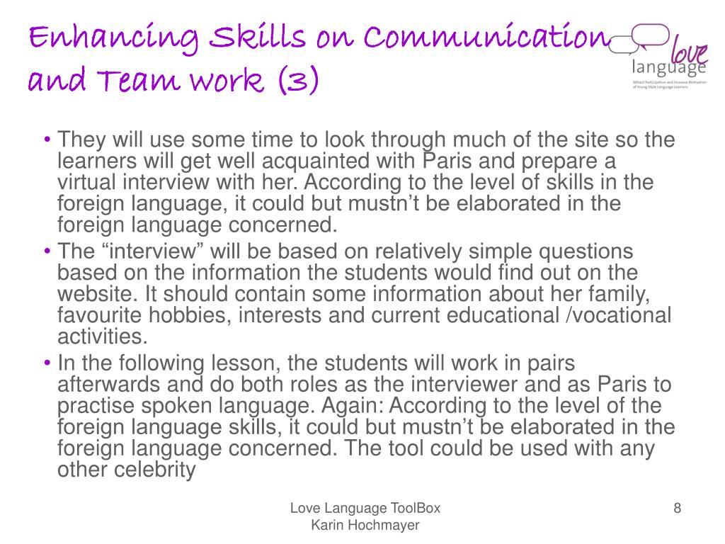 Enhancing Skills on Communication and Team work (3)