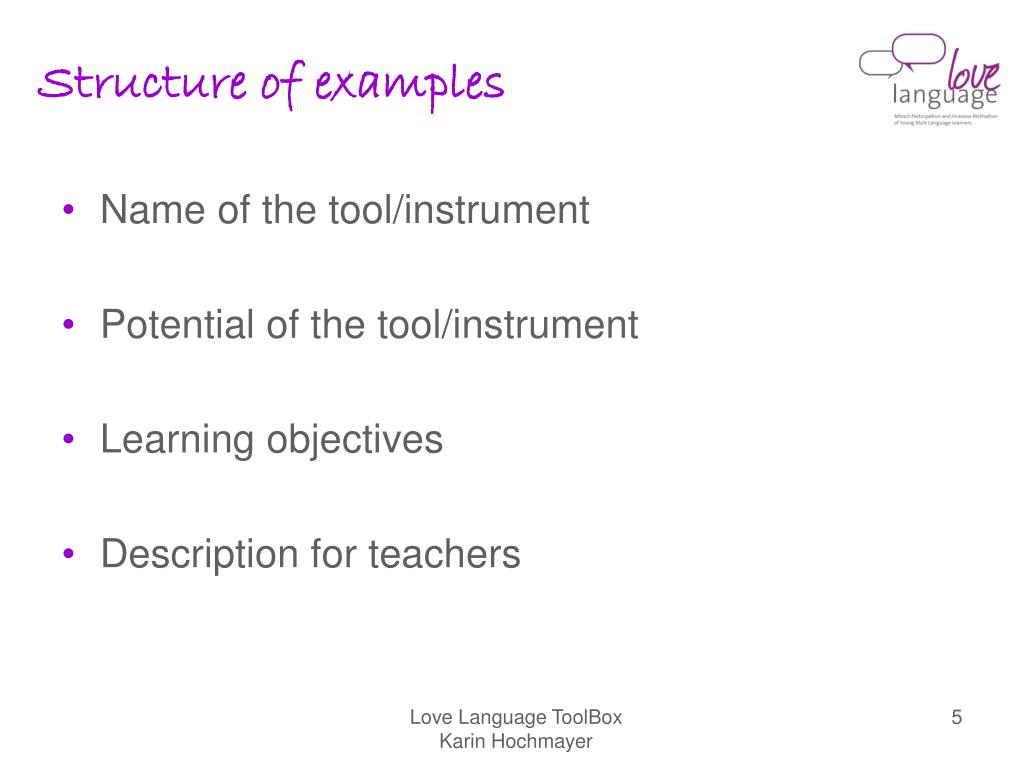 Structure of examples
