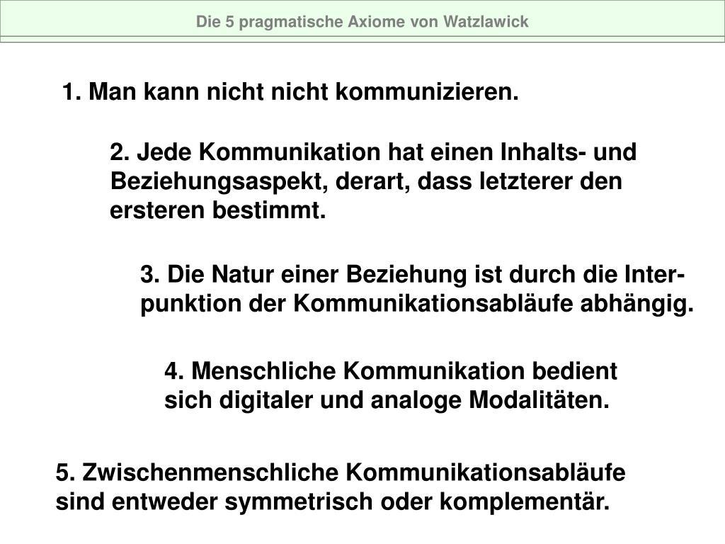Die 5 pragmatische Axiome von Watzlawick
