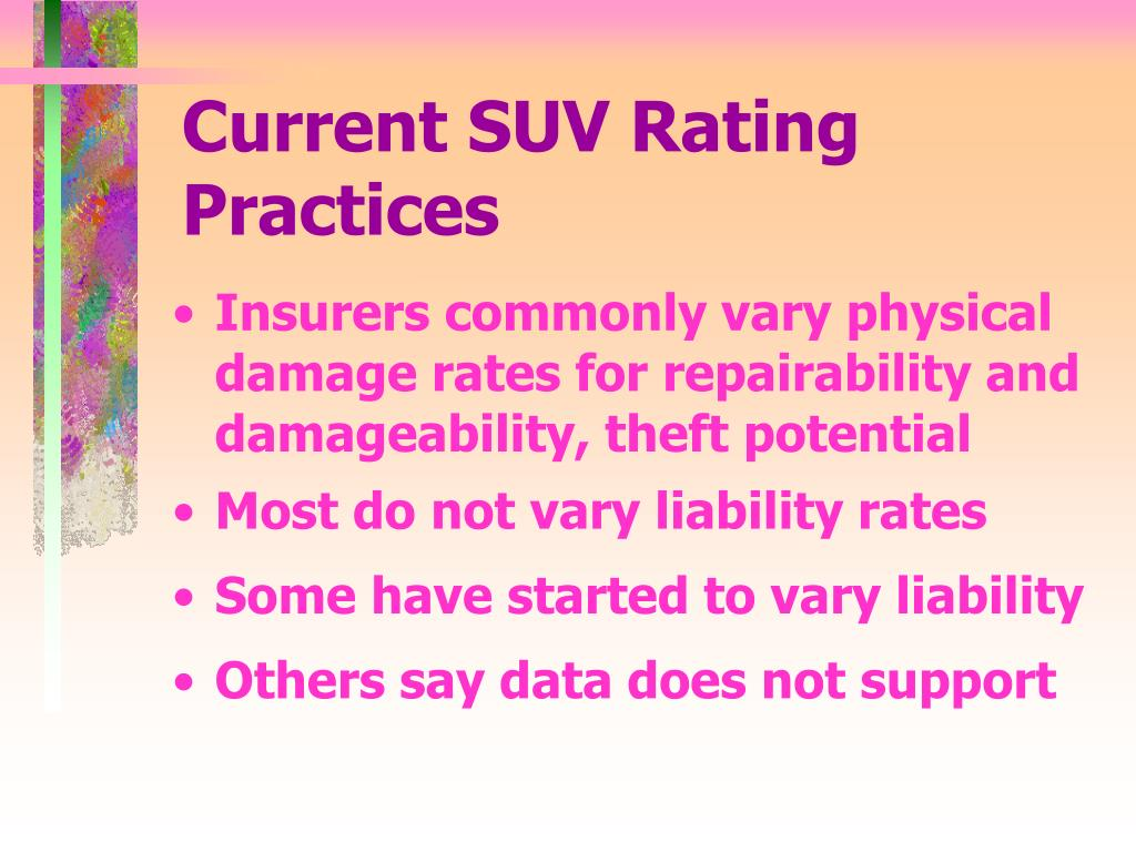 Current SUV Rating Practices