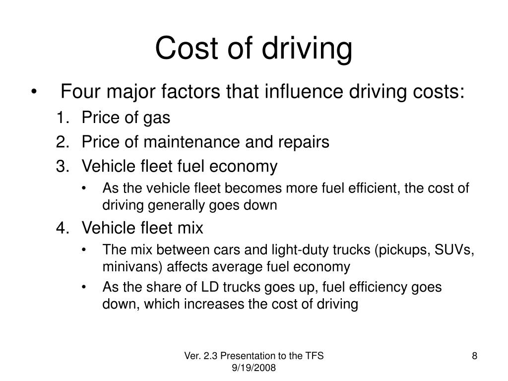 Cost of driving