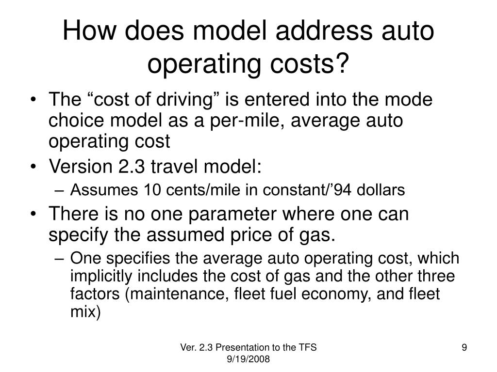 How does model address auto operating costs?
