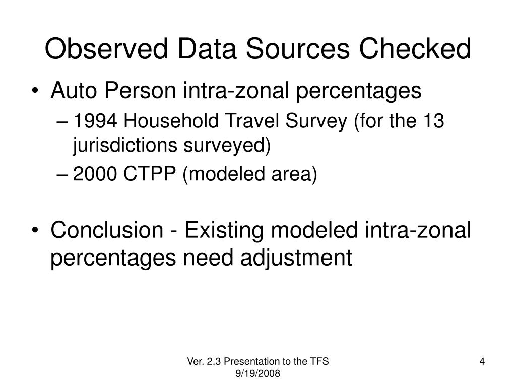 Observed Data Sources Checked