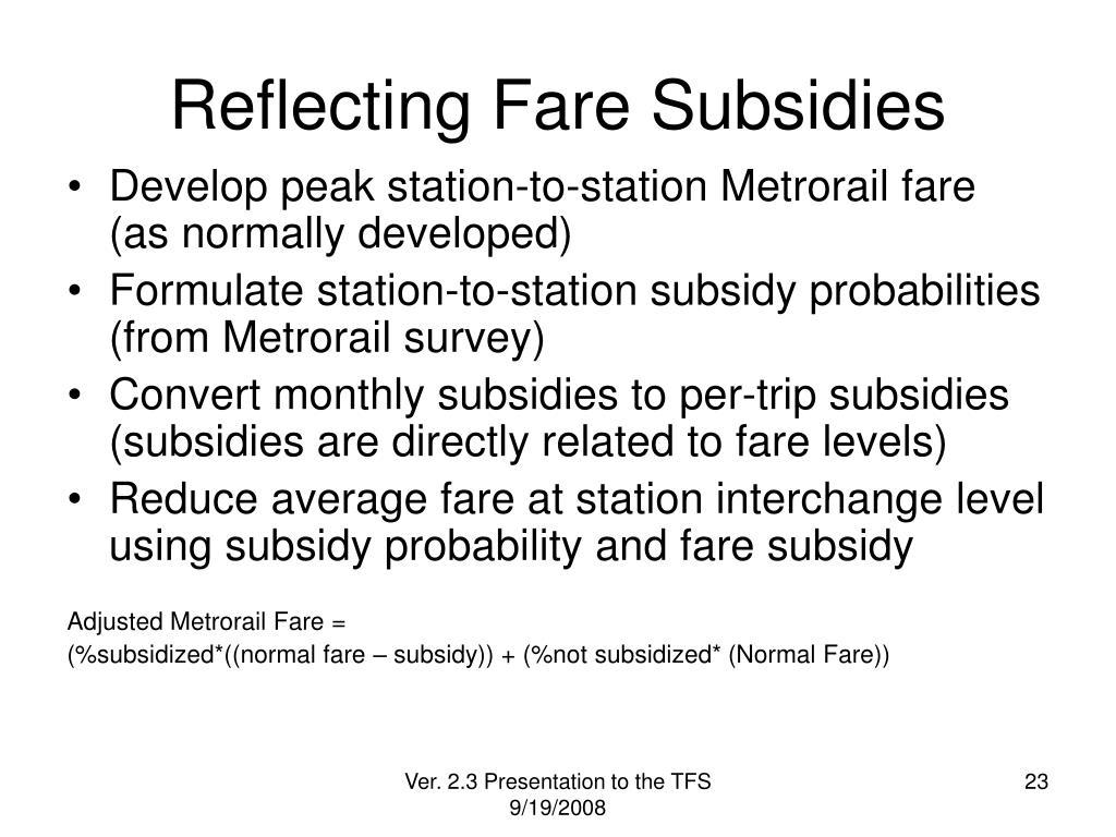 Reflecting Fare Subsidies