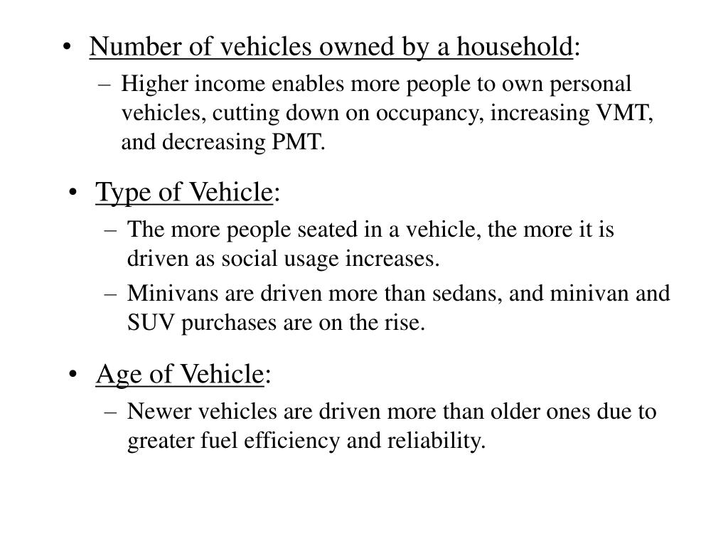Number of vehicles owned by a household