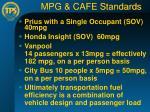 mpg cafe standards