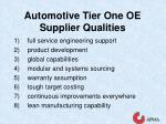 automotive tier one oe supplier qualities