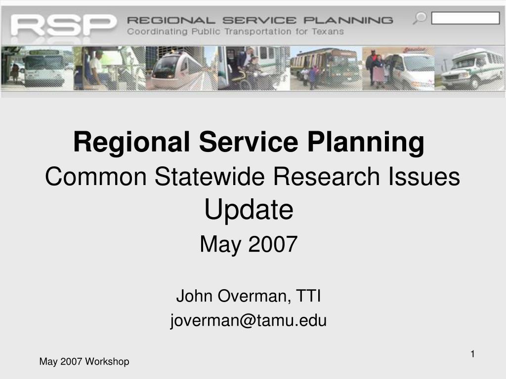 regional service planning common statewide research issues update l.