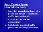 rural collector system minor collector roads