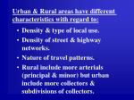 urban rural areas have different characteristics with regard to