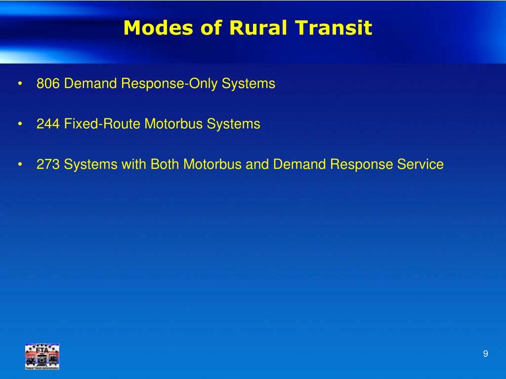 Modes of Rural Transit