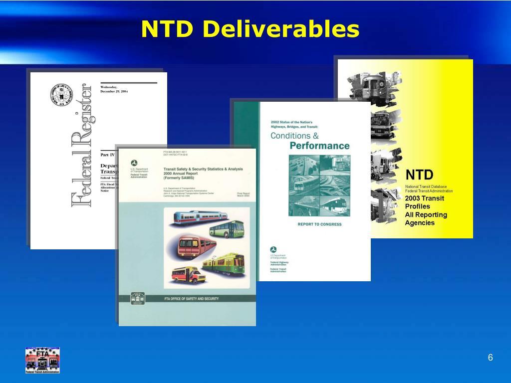 NTD Deliverables