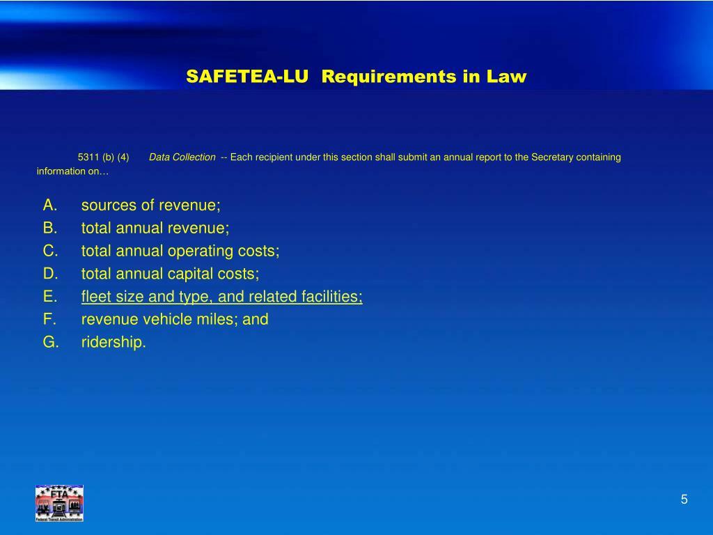 SAFETEA-LU  Requirements in Law
