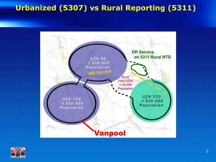 Urbanized 5307 vs rural reporting 5311