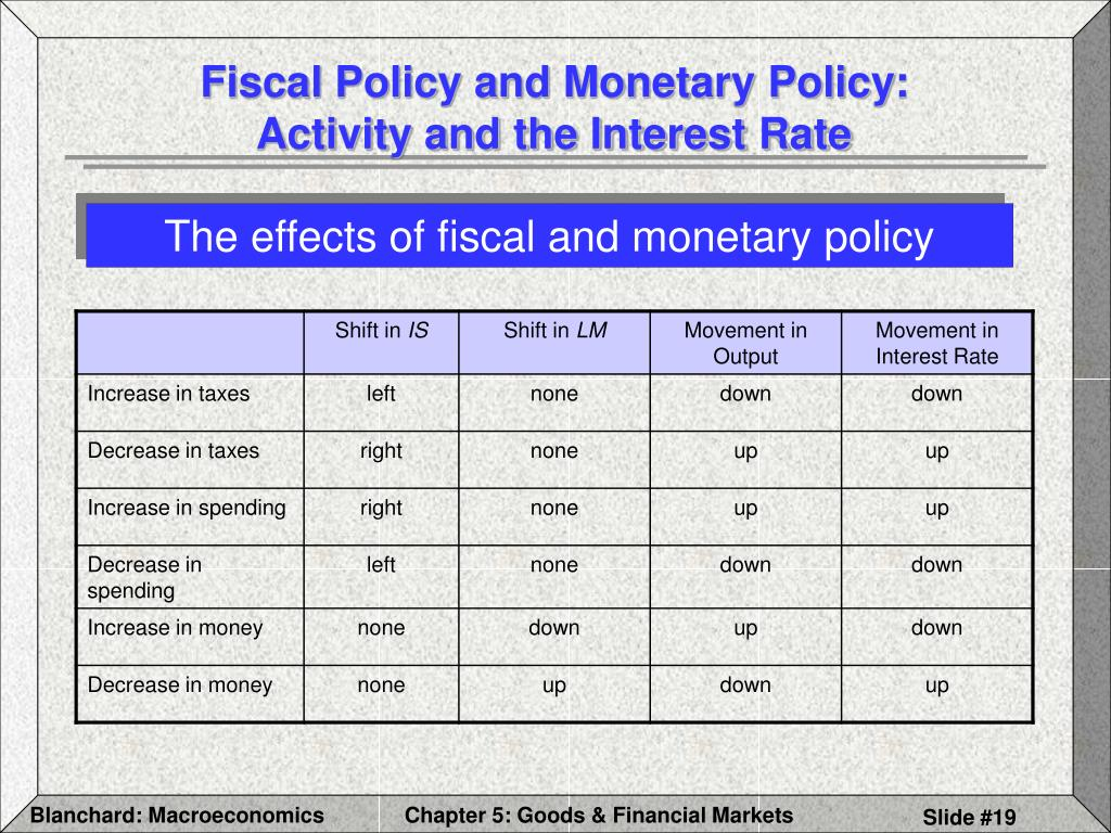 Fiscal Policy and Monetary Policy: