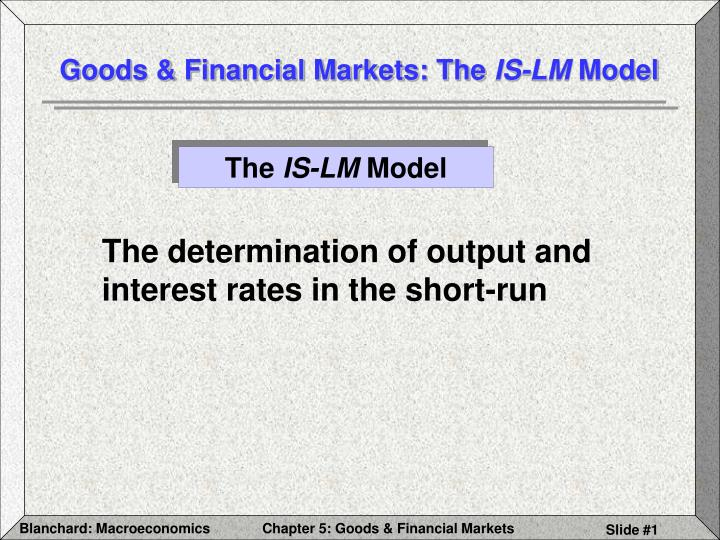 Goods financial markets the is lm model