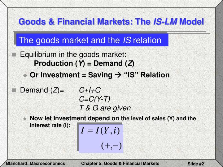Goods financial markets the is lm model2