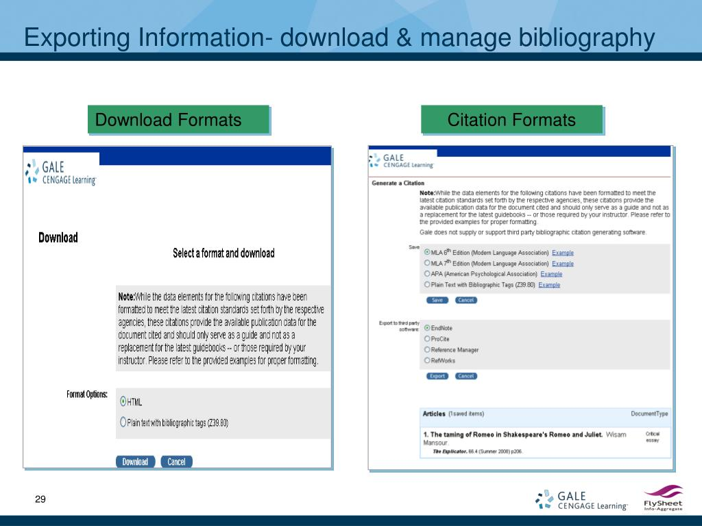 Exporting Information- download & manage bibliography