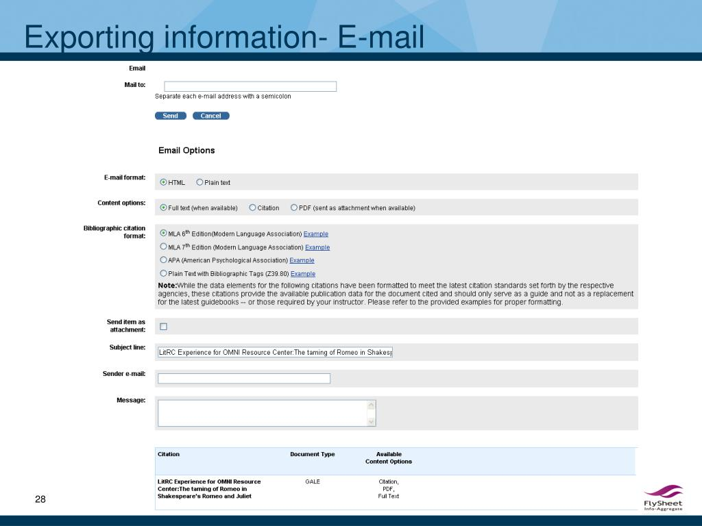 Exporting information- E-mail