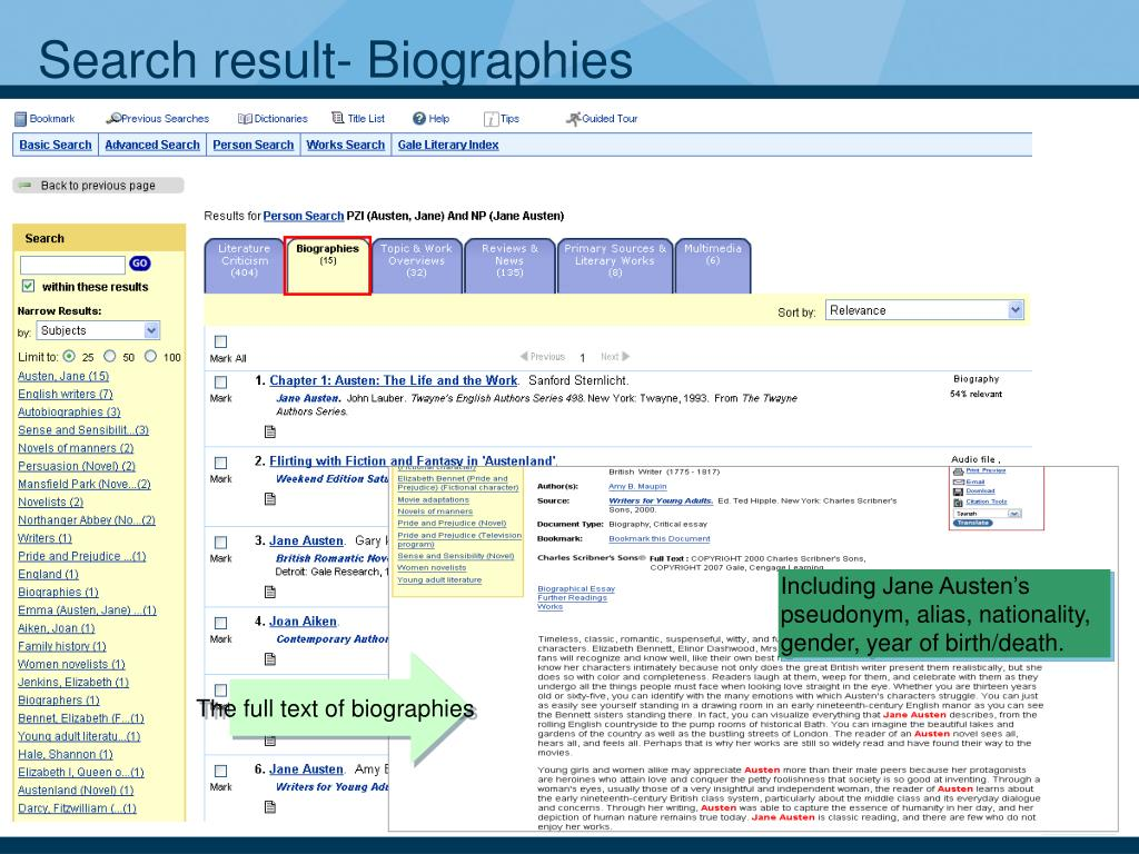 Search result- Biographies