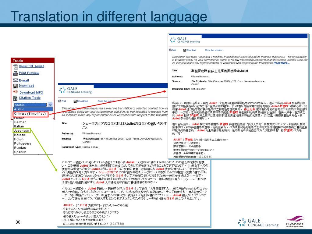 Translation in different language