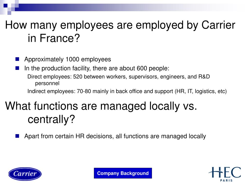 How many employees are employed by Carrier in France?