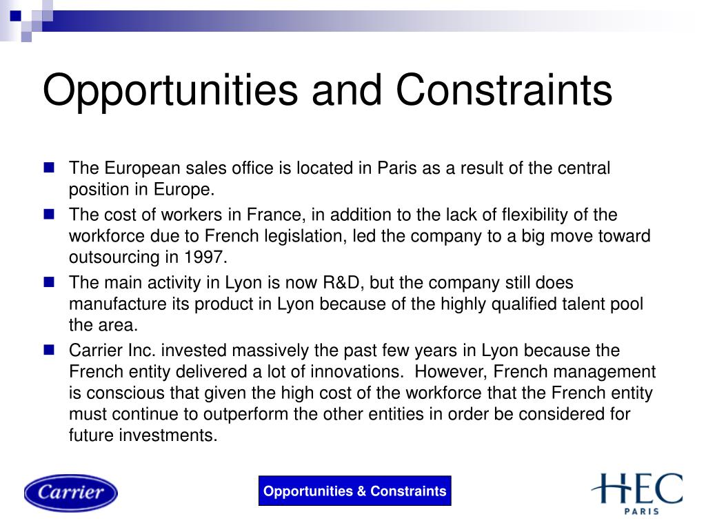 Opportunities and Constraints