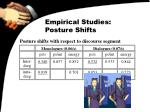 empirical studies posture shifts