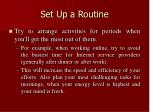 set up a routine