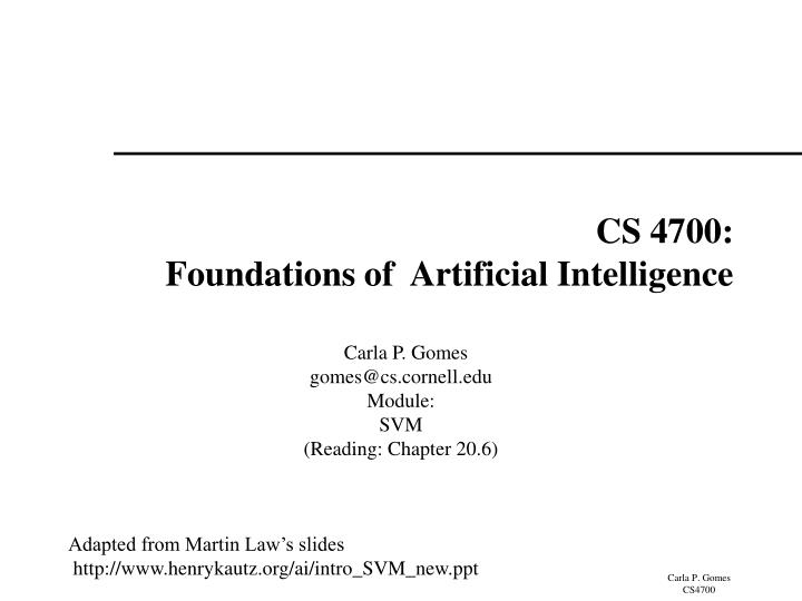 Cs 4700 foundations of artificial intelligence
