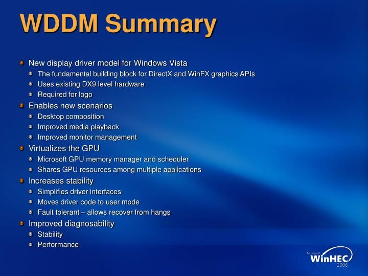 Wddm summary