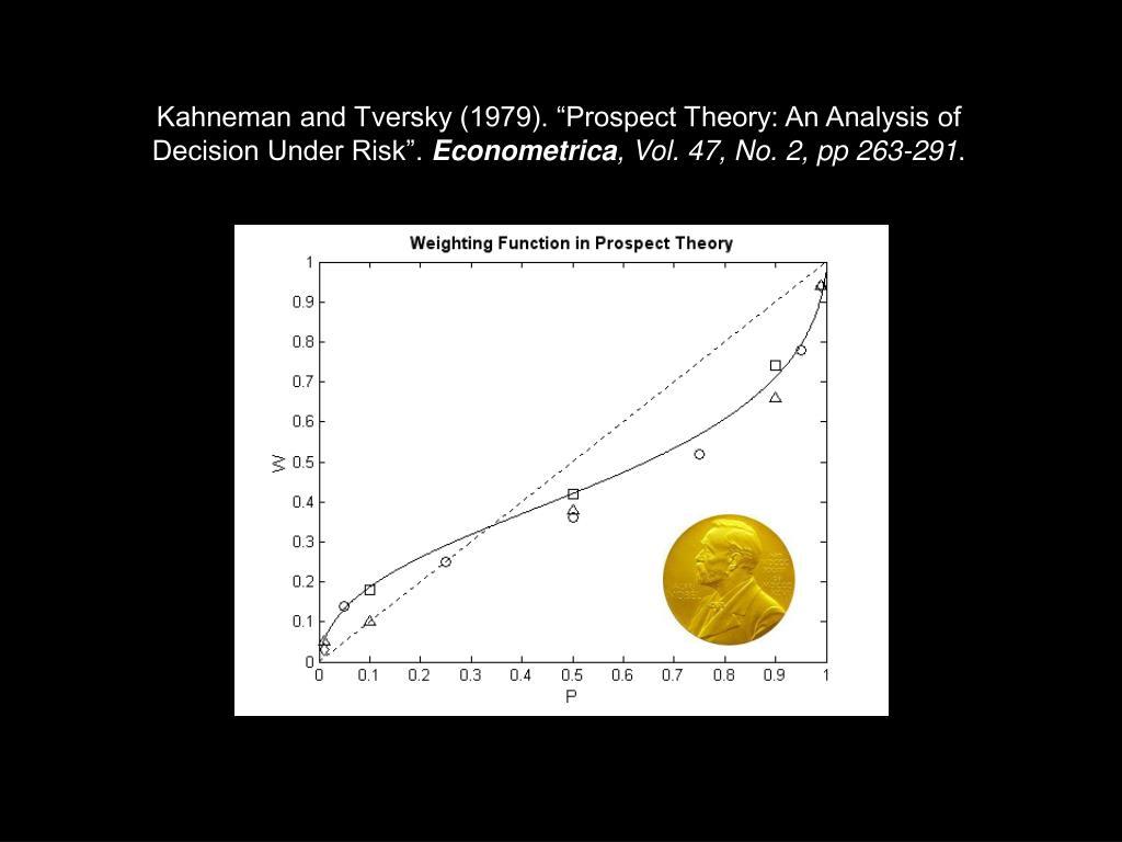 "Kahneman and Tversky (1979). ""Prospect Theory: An Analysis of"