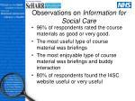 observations on information for social care