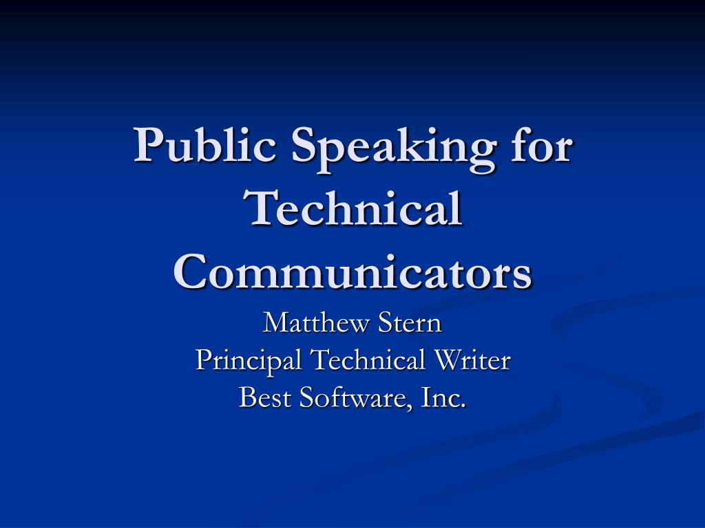 public speaking for technical communicators l.