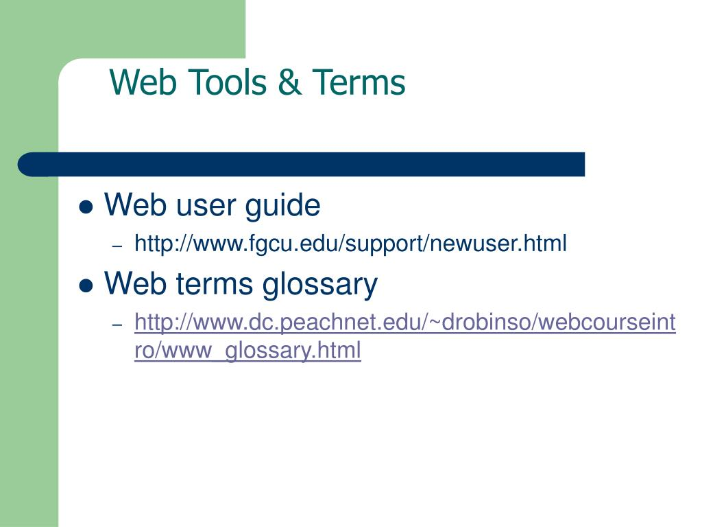 Web Tools & Terms