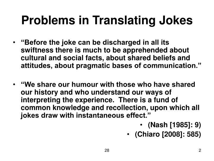 Problems in translating jokes