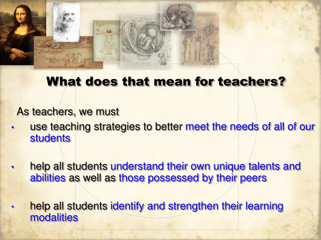 What does that mean for teachers?